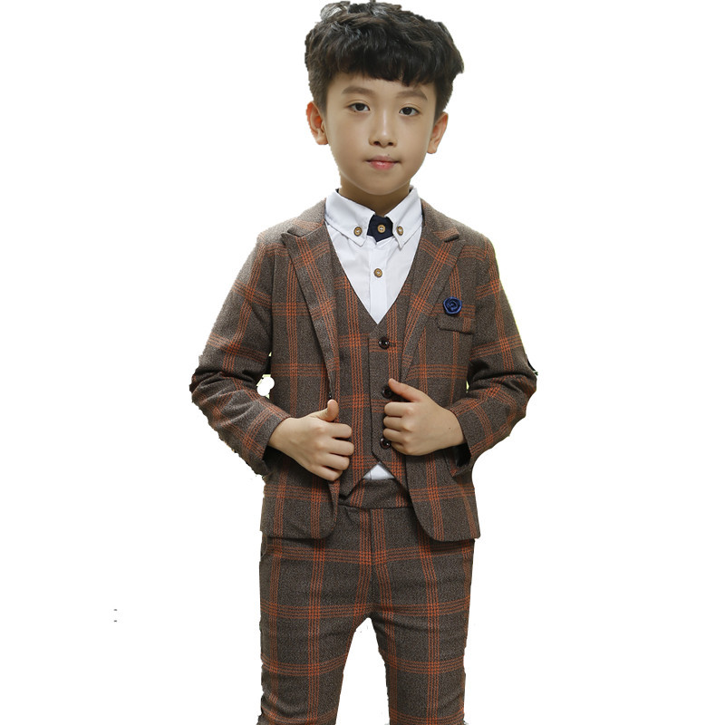 Boy Blazer Suit 2018 Boys 3PCS Plaid Formal Wedding Suit Vest+Coat+Pant Brand Children Party Tuxedos Performance Wear for Boys boy blazer suit 2018 boys 3pcs plaid formal wedding suit vest coat pant brand children party tuxedos performance wear for boys