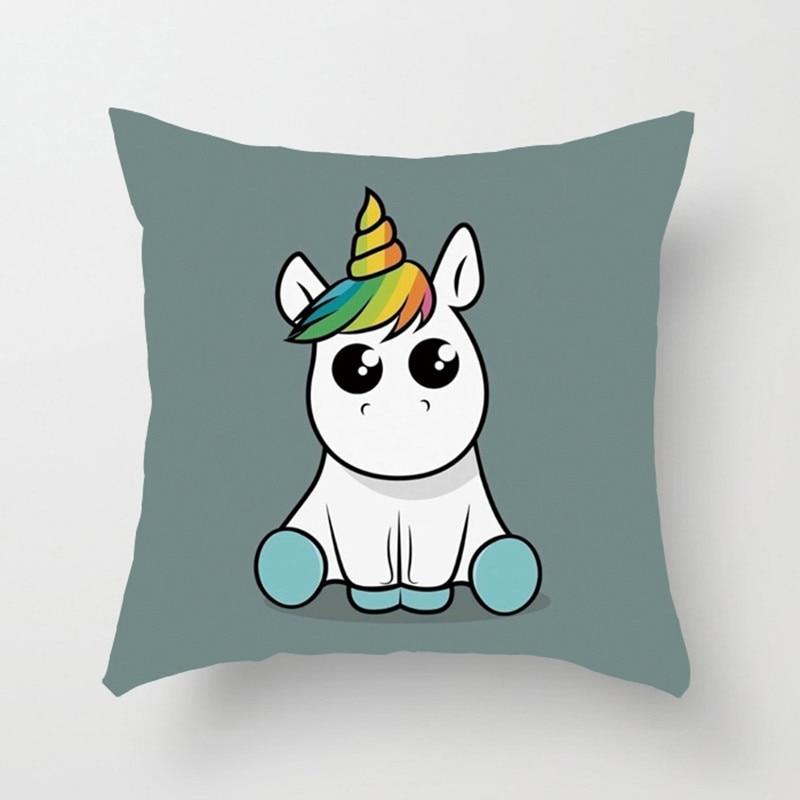 1 Piece 40x40cm Kawaii Unicorn Cushion Cover Cute Anime Animal Pillow Case Cover Cushions Cover For Sofa Children XF365-7