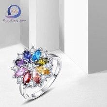 Merthus Стерлингового Серебра 925 Кольца с Цветком Лаборатории Созданы Multi Камни Обещание Engagemengt Партия Кольцо для Модных Женщин