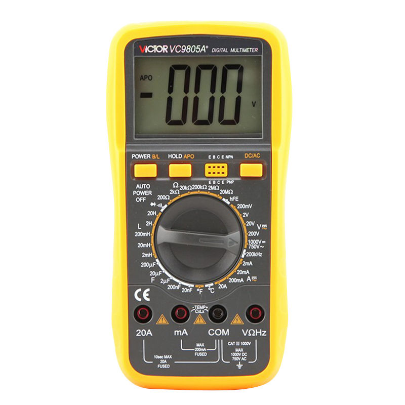 цены New Style Victor Digital Multimeter 20A 1000V Resistance Capacitance Inductance Temp VC9805A+