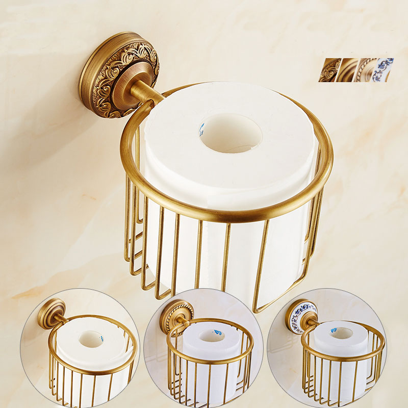 Brass wall paper holders bathroom shelf rack, Retro copper toilet tissue basket cosmetic storage box, Kitchen shelf brackets black of toilet paper all copper toilet tissue box antique toilet paper basket american top hand cartons