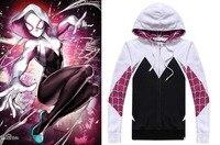 Superhero Spider Gwen Stacy Hoodie Cosplay Costume 3D Spiderman Zipper Jacket Hooded Sweatshirt Coat Women Girls