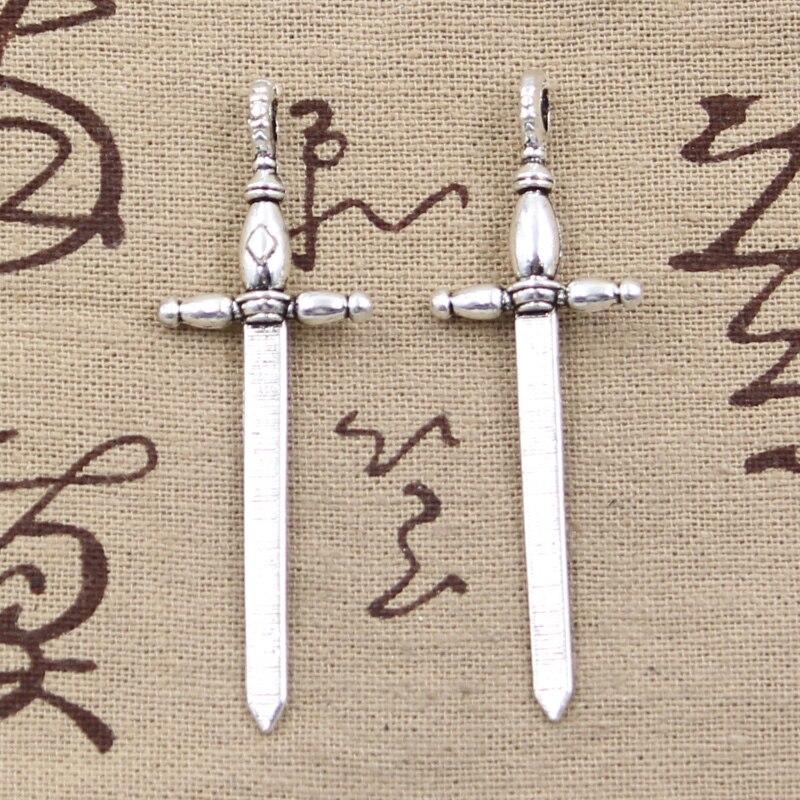 8 pçs encantos espada esgrima 59x19mm bronze antigo prata cor pingentes fazendo diy artesanal tibetano bronze prata cor jóias
