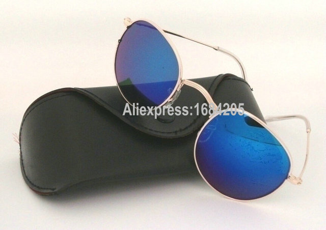 2e80909e473 1pcs Men Women Fashion Sunglasses Round metal 3447 Gold Frame Blue glass  lenses Designers Sun Glasses With Box And Case