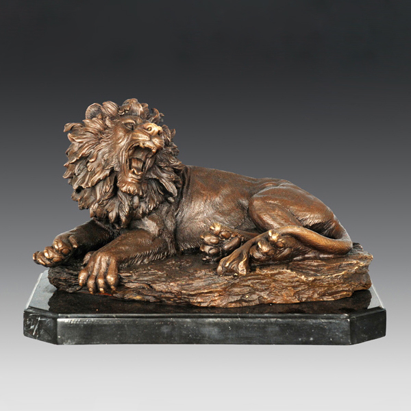 ATLIE Professional Seller sculptures lying Bronze Lion Statue home decoration Chinese guardian lion