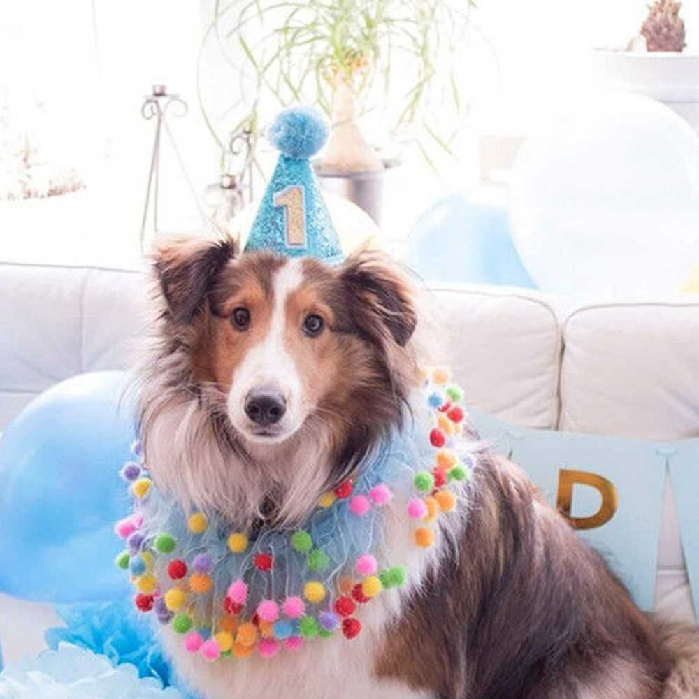1 Year Old Birthday Hat For Dog Cat Pet Party Cap Costume Head Wear Blue
