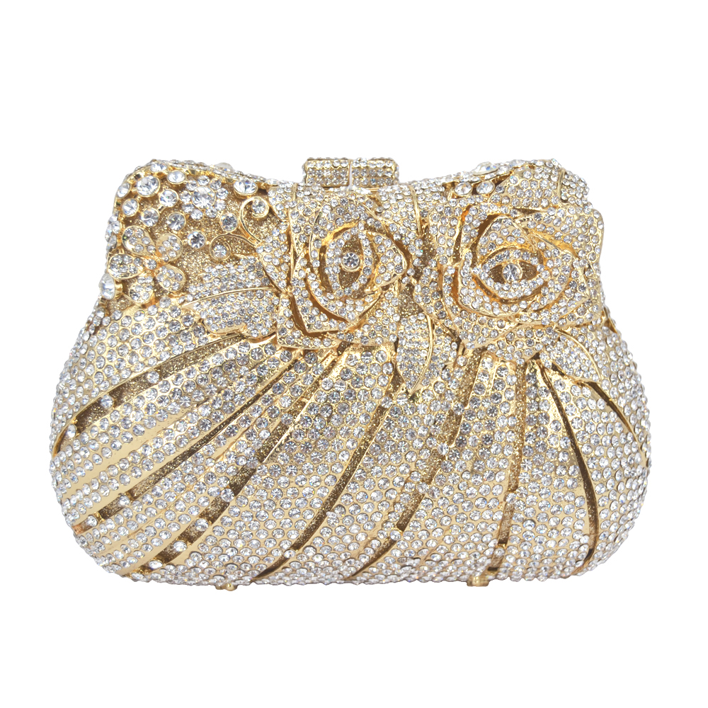 Golden Flower Luxury Crystal Evening Bag Rose Diamond Banquet Bag Sparkly Diamante Wedding Party Purse Pochette Clutch Bag 88176 brand designer luxury crystal multicolor clutch bag women diamond evening bag golden oval wedding banquet purse handbags sc467