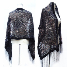 Sexy Black Leopard Print Velvet Scarf Poncho Women Burnout Evening Shawl Female Spring Winter Gift For Mom Lovers