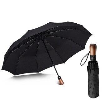 W Pełni Automatyczny Oversize Wzmocniony Parasol Deszcz Kobiety Potrójne Mężczyzna Kobieta Parasol Wiatroszczelne Parasole Biznesowe