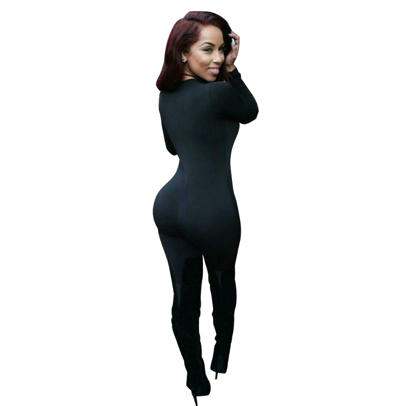 Elegant jumpsuit 2015 new womens jumpsuit fashion sexy black Lace Up V neck Long Sleeve sheath bodycon jumpsuit for women