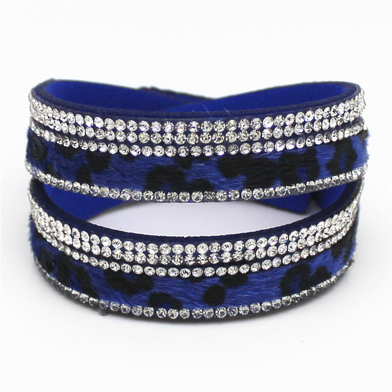 New Arrived Sexy Leopard Bling Rhinestone Double Wrap Bracelet For Women Leather Wrap Bracelet Wristband Crystal Charms Chokers 8