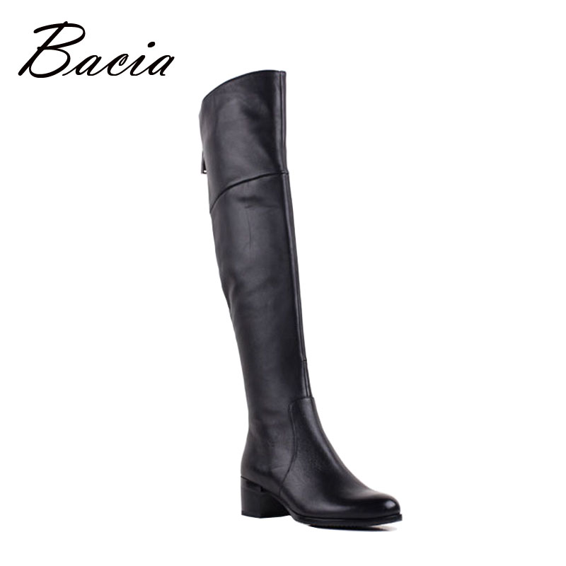 Bacia marca botas de mujer Otoño Invierno botas de cuero de tacón medio zapatos de piel de oveja suave genuino botas Zapatos felpa corta VB079