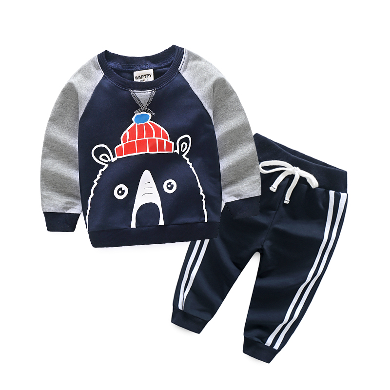 Cartoon Toddler Boys Sets Sports Suit for A Boy Long Sleeve Tops + Pants Spring Autumn Kids Clothing Set of Boys