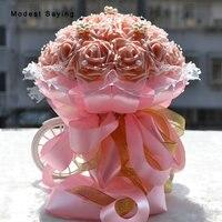 6 Cores Rosa Flores Artificiais Bouquets De Casamento 2017 Moda De Plástico Rosa, Pérola Romântica Acessórios Do Casamento Buquê De Noiva