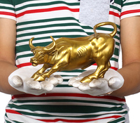 19CM # office home store business stock market Mascot efficacious Talisman Money Drawing gold Charging Bull brass statue