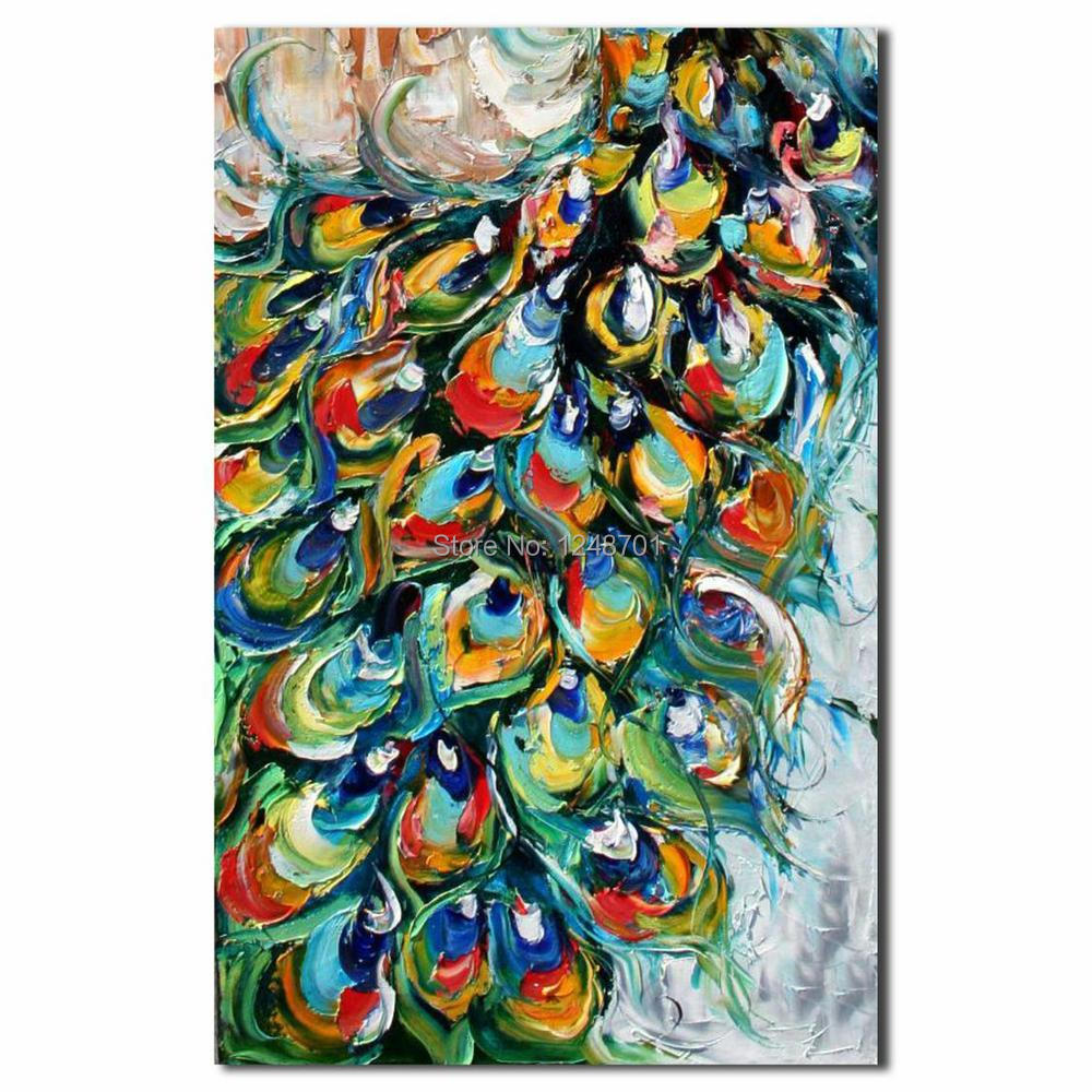Hand Painted palette font b knife b font peacock oil painting high quality peacock canvas painting