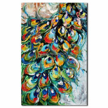 Hand Painted palette knife peacock oil painting high quality peacock canvas painting
