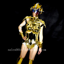Gold Plated Catwalk Shows Women Costume Carnival Victoria Sexy Lady Evening Dress Cabaret Stage Performance Cosplay Clothes