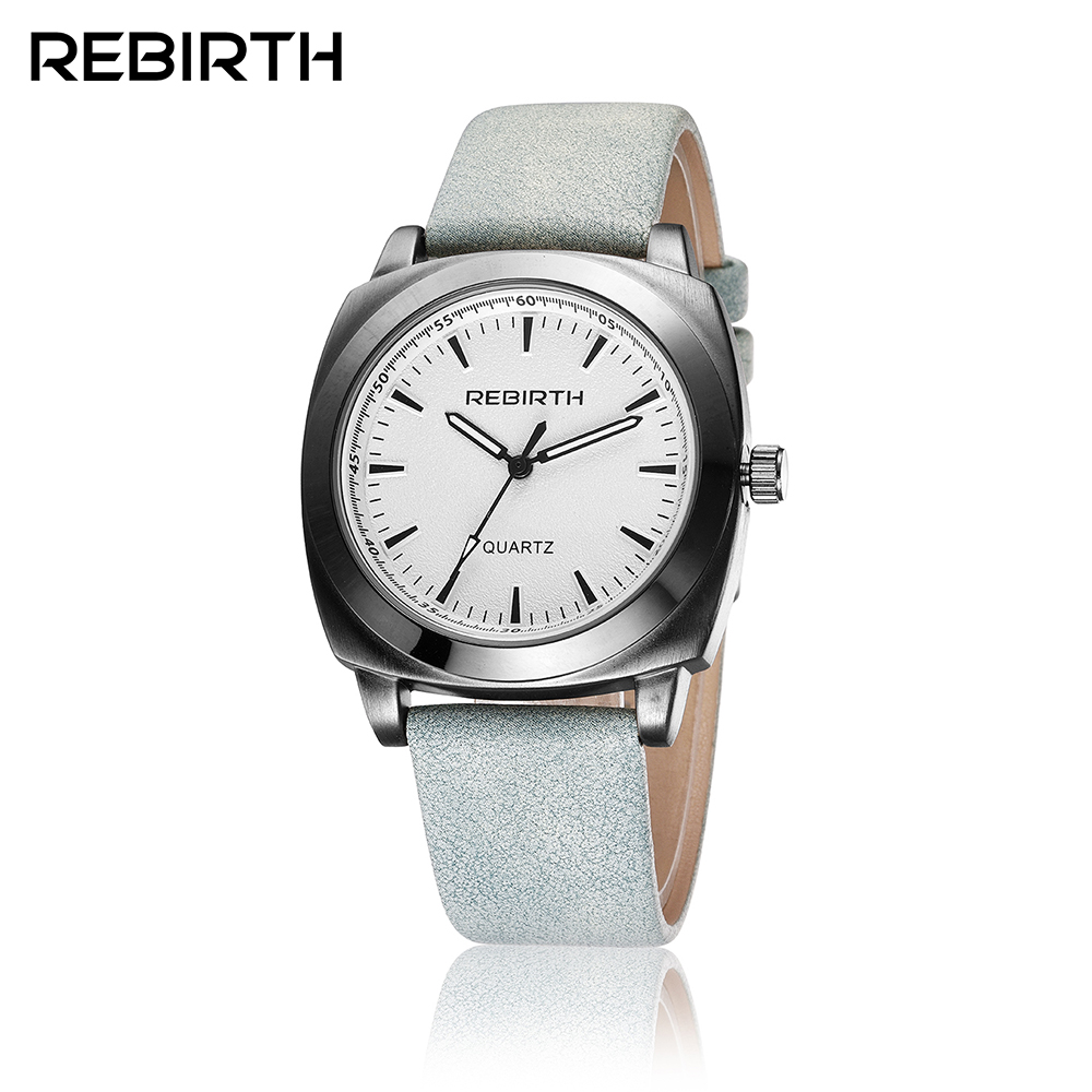 REBIRTH Quartz Women's Watches Tonneau Ladies Watch Leather Fashoin Dress Wrist Watches Clock relogio feminino reloj mujer saat