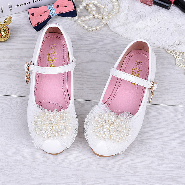 White Pink Girls PU Leather Shoes Size 24-35 Students Fashion Dress Shoes  Princess Dance Casual Footwear Kids Beaded Flat Shoes 65eb78cfe2a0