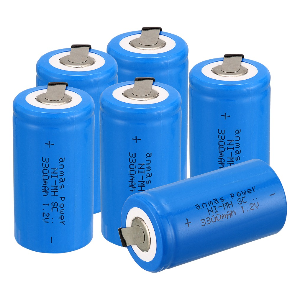 Anmas power!new goods !6 pcs sub c SC battery Ni-Cd battery rechargeable battery 3300mh with tab-blue color 4.25CM*2.2CM