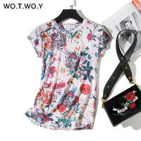 WOTWOY Summer Floral Print T-shirts Women O-neck Short Sleeve Tees Plus Size Woman Tops Casual Soft Elastic Streetwear T shirts T-Shirts