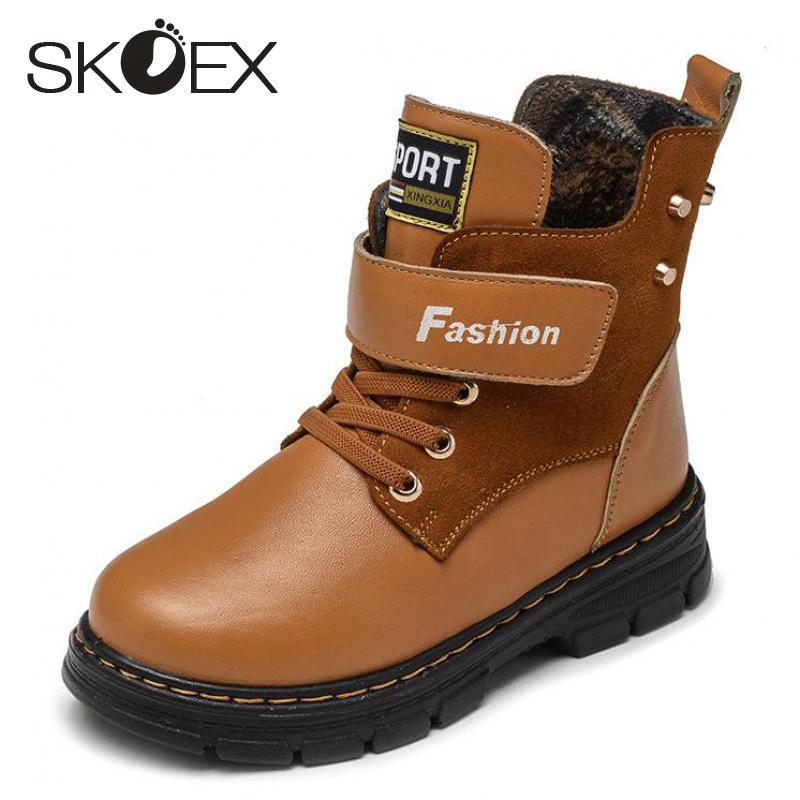 SKOEX Kids Boots Winter Mid-Calf Waterproof Boots For Boys Girls Fashion Outdoor Shoes Leather Warm Martin Boot For Children's