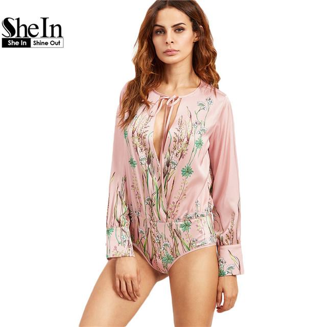 SheIn Sexy Bodysuit Rompers Bodysuits Uma Peça Para Mulheres Rosa Impressão Botânico Tie Pescoço Envoltório de Manga Longa Bodysuit