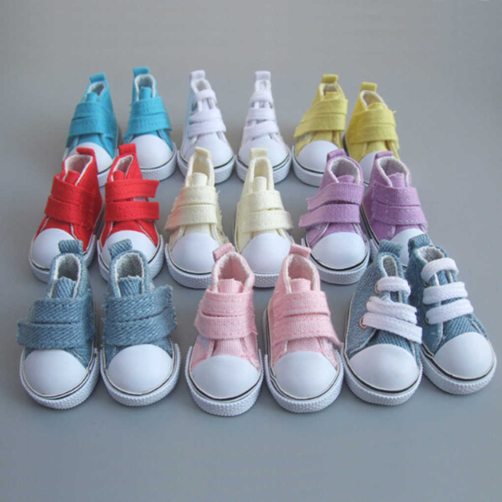 9Colors 1 Pair 5cm Doll Canvas Shoes Doll Toy Footwear Sports Tennis Shoes Children Gift Toys