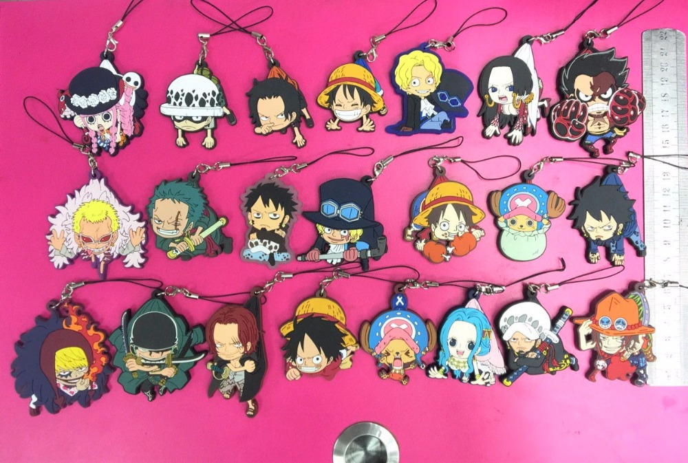 22pcs/lot One Piece Random Send Luffy Ace Nami Zoro Boa Hancock Japanese Anime Rubber Mobile Phone Charms Keychain Strap G643-22
