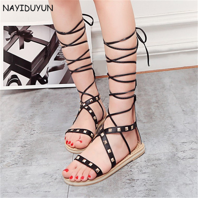 711bebe9638af NAYIDUYUN Women Lace Up Strappy Knee High Gladiator Sandals Spike Studded  Low Heels Summer Party Shoes black/white/brown