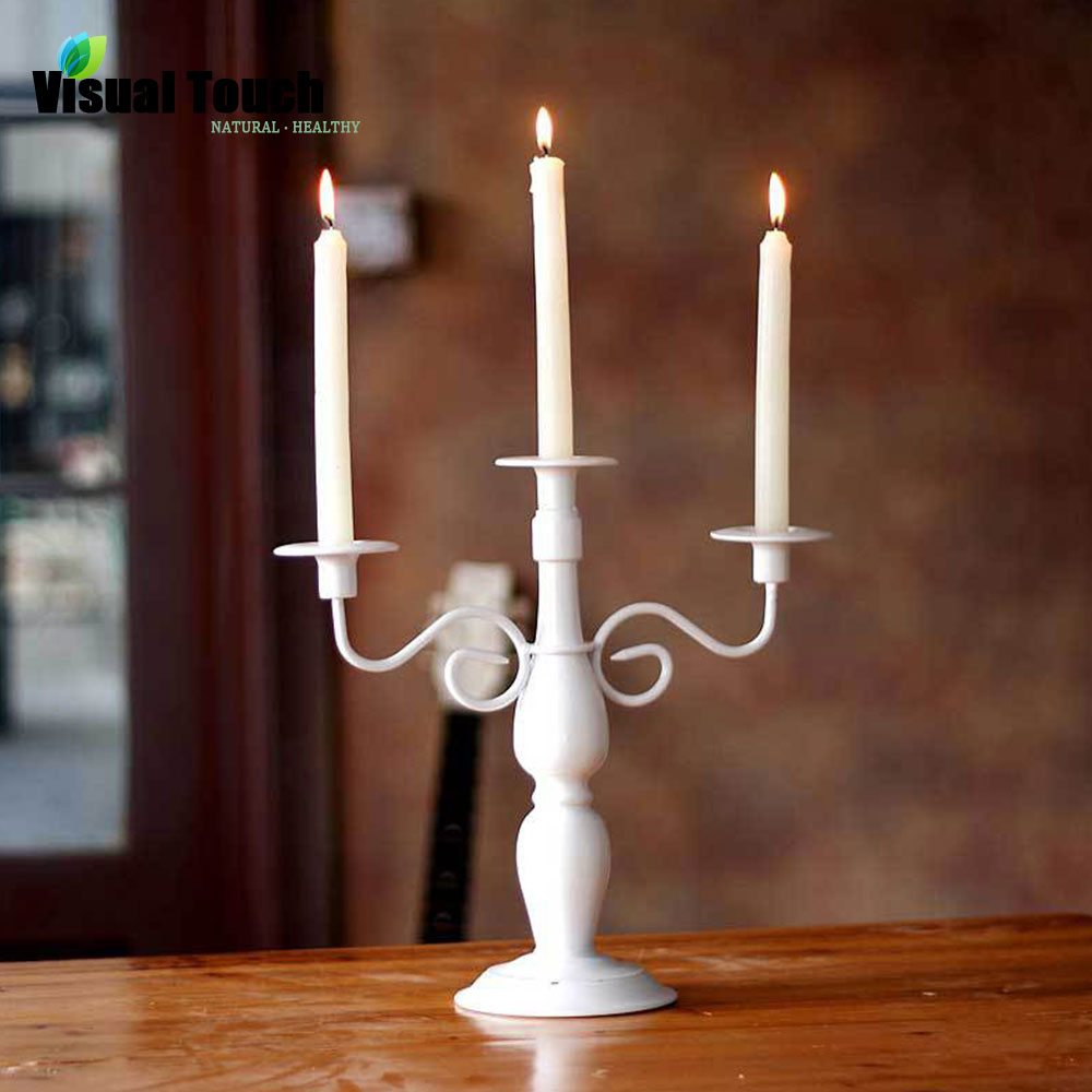 Iron Art Black White 3 Arms Candle Holder Candle Stand