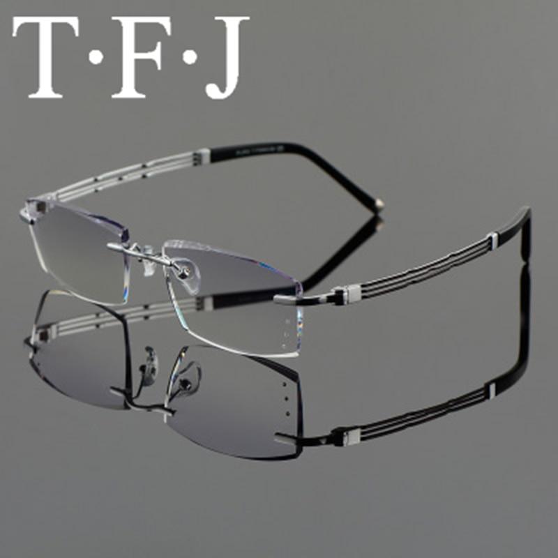 Diamond Trimmed Rimless Reading Glasses For Men Pure titanium Cut Gradient Anti-Blu-ray Fashionable Myopia Eyeglasses