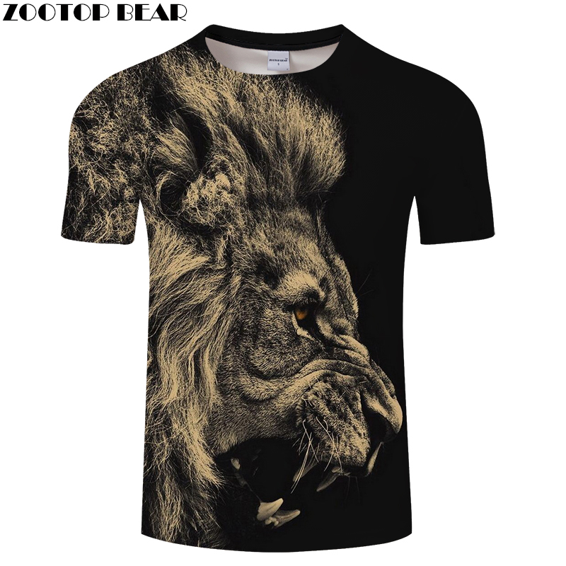 Animal tshirt Men Women t shirt Lion t-shirt 3D Black Top Streatwear Tee Short Sleeve Clothing Brand 6XL Drop Ship ZOOTOPBEAR