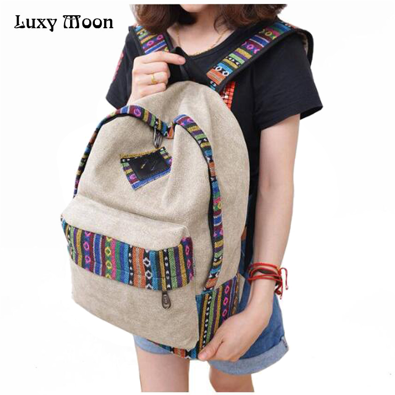 New 2016 female mochila bolsas women ethnic brief canvas backpack preppy style school Lady girl student school Travel laptop bag  pleega new 2017 preppy style student leisure school bag teenagers girl canvas backpack boy school backpack big backpack notebook