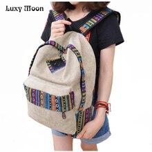 New 2016 female mochila bolsas women ethnic brief canvas backpack preppy style school Lady girl student