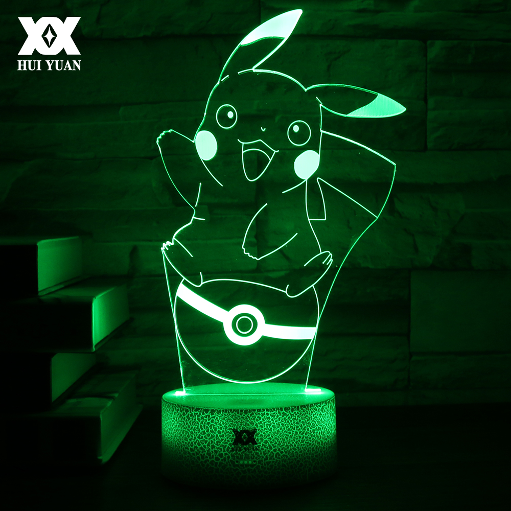 LED 7 Color Cartoon 3D Lamp Charizard/Bulbasaur/Pikachu/Charmander Night Light For Pokemon USB Decorative Table Lamp lno 217pcs charizard pokemon building block