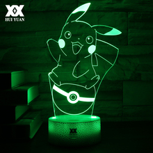 LED 7 Color Cartoon 3D Lamp Charizard/Bulbasaur/Pikachu/Charmander Night Light For Pokemon USB Decorative Table Lamp