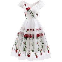 Roiii New White Lace Women Dress Vintage Mesh Floral Embroidery A Line Mid Calf Sexy Off Shoulder Cock Tail Party Female Vestido
