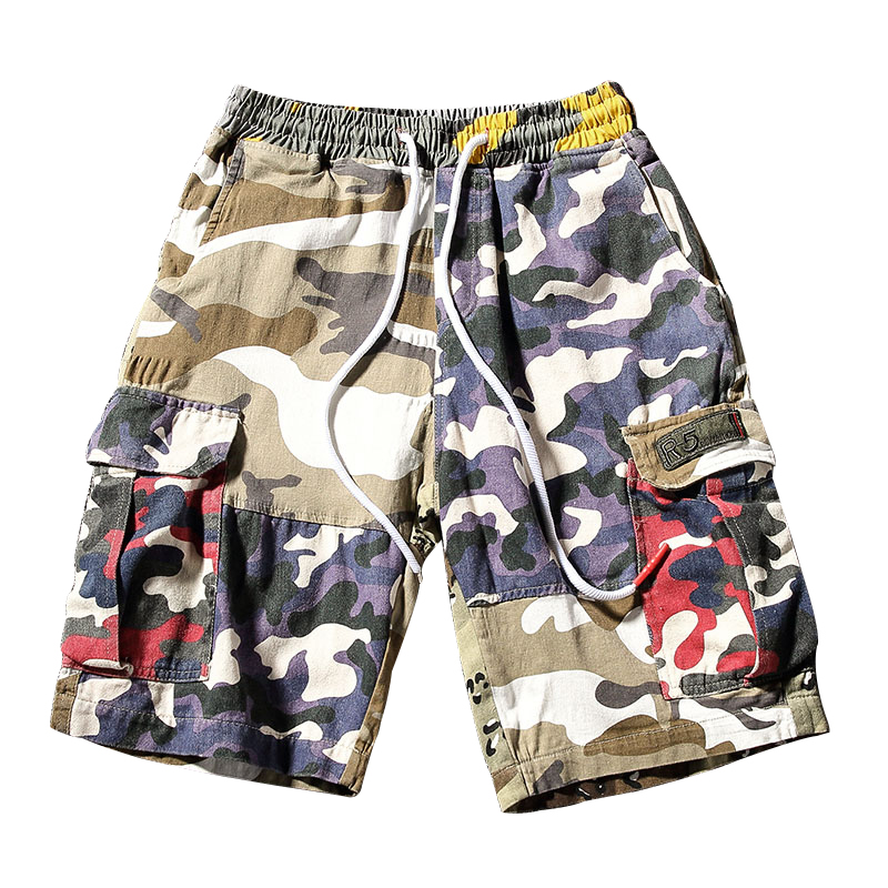 Summer cotton cargo shorts Men patchwork Loose camouflage shorts Multi-Pocket Homme drawstring Casual Short Bermudas Masculina