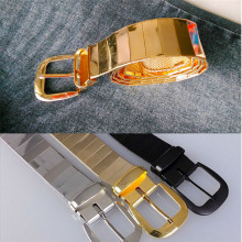 New fashion men all metal alloy belts pin buckle belt / gold silver black and women accessories