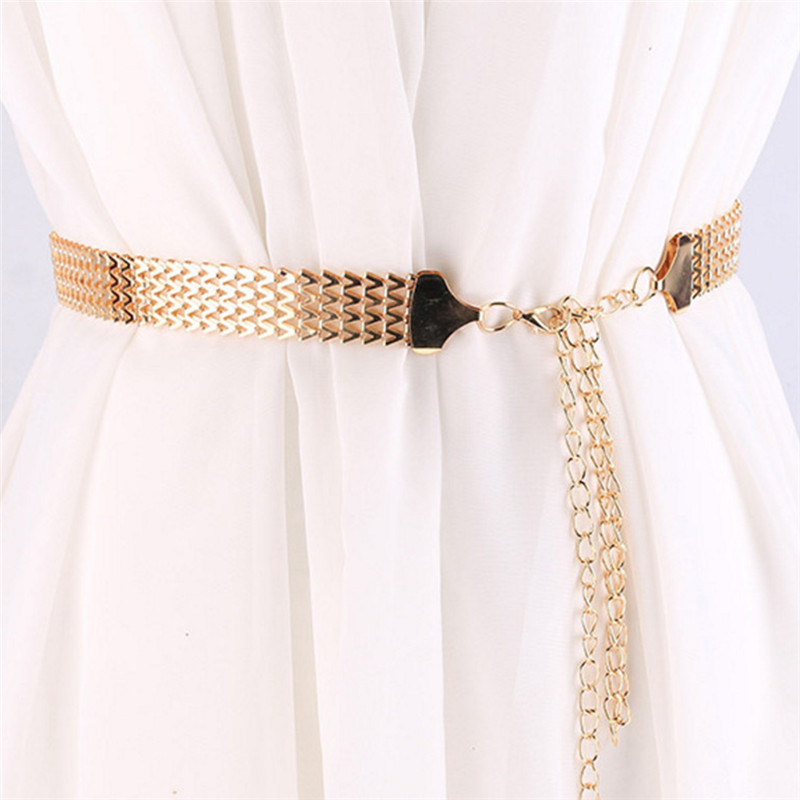 Wave Metal Waist Chain Belt Gold Buckle Body Chain Dress Belt