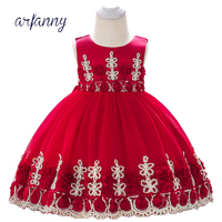 Baby Girl Dress Clothes Birthday Girls Infant Baptism Dresses 0 1 2 Year Kids Embroidered Flower lace Christening Dress