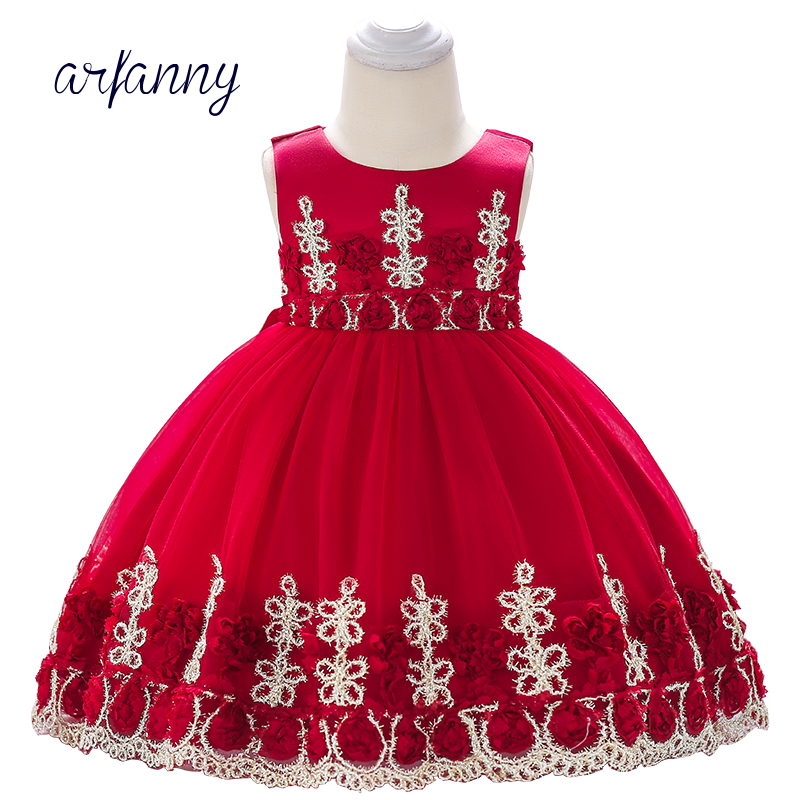 Baby Girl Dress Clothes Birthday Girls Infant Baptism Dresses 0 1 2 Year Kids Embroidered Flower lace Christening Dress flower girls dresses for party and wedding little baby 1 year birthday baptism dress kids floral lace vestido infant bow clothes