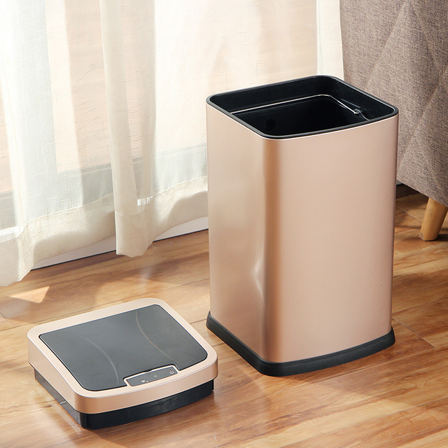 ORZ 12L Automatic Open Close Trash Bin Stainless Steel For Indoor Use Bathroom Toilet Office Cleanning