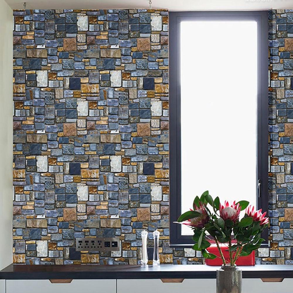 3D PE Foam Brick Stone Rustic Effect Home Decor Self-adhesive Wall Sticker NEW