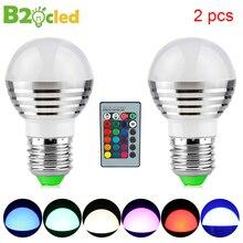 2pcs E27 RGB LED Bulb Lamp  Dimmable 3W 85-265V 110V 220V 24 key IR Remote Control Holiday Party Decor Lampada Home Decoration