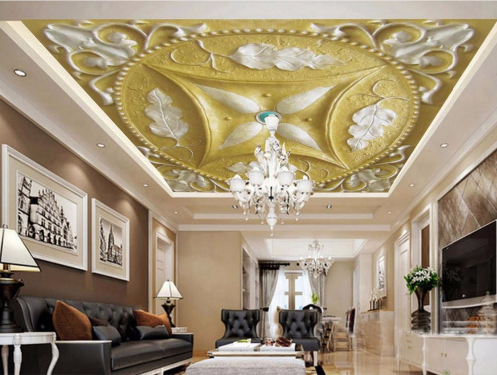 European Luxury Ceiling Murals Wallpaper Relief Pattern Wallpaper For Walls 3 d Living room Bedroom Nonwovens Ceiling Wallpaper blue earth cosmic sky zenith living room ceiling murals 3d wallpaper the living room bedroom study paper 3d wallpaper