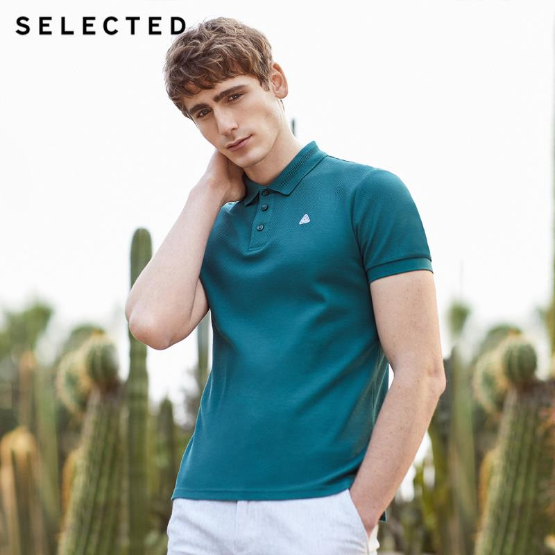 SELECTED Men's Summer 100% Cotton Embroidered Short-sleeved Turn-down Collar Polo T-shirt S|419206523