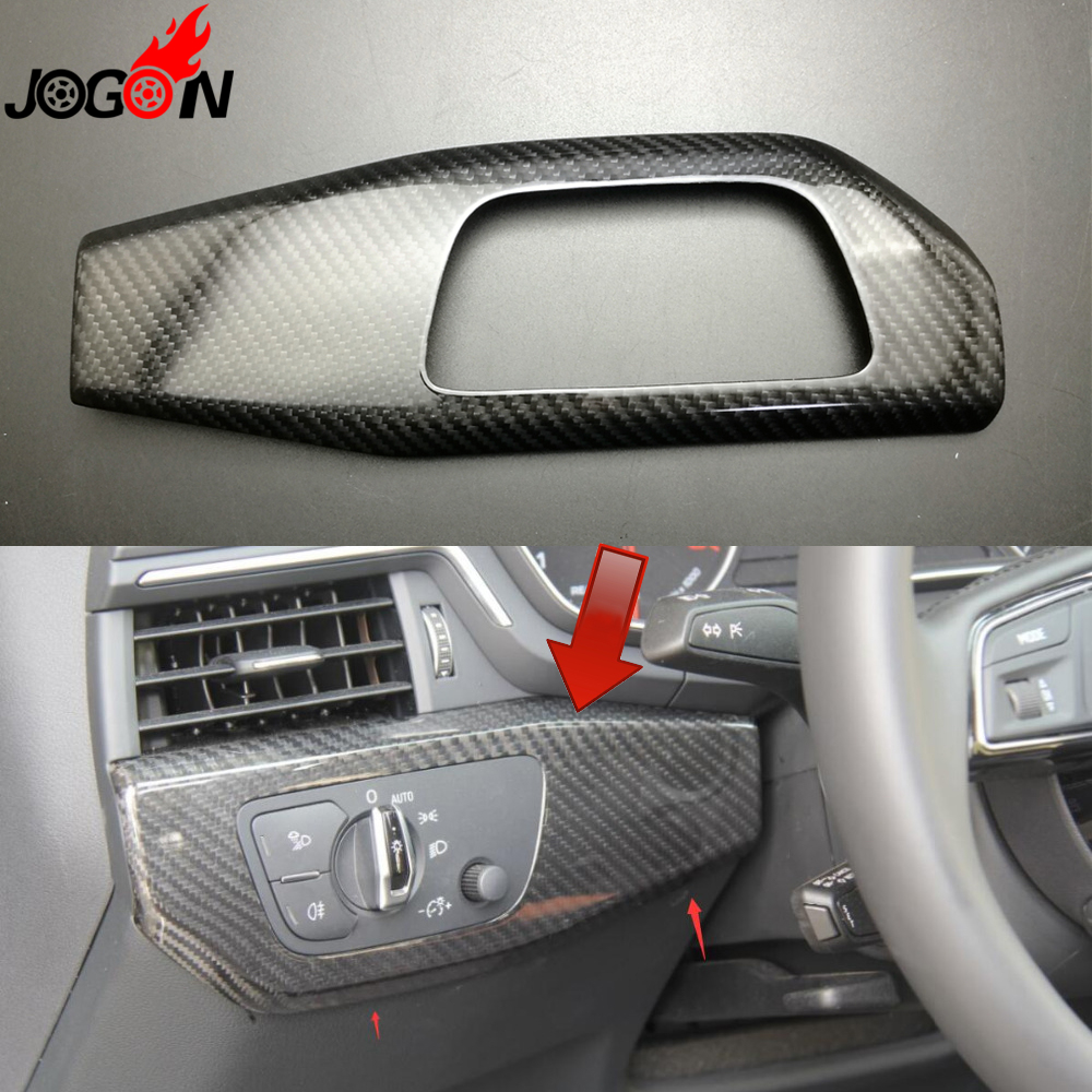 LHD 100% Real Carbon Fiber For Audi A4 B9 8W 2017 Car Interior Head Fog Light Control Adjust Switch Button Cover Trim Styling